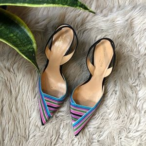 Sergio Rossi Slingback Pointed-Toe Striped Heels